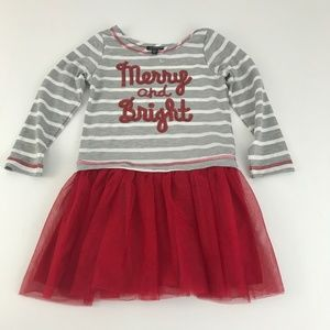 Zunie Holiday Dress Red Striped w/sequins